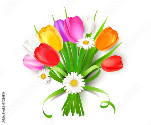 """Free Flowers In A Vase Clipart Download Free Clip Art: """"Bunter Blumenstrauß Mit Tulpen, Margeriten Und"""
