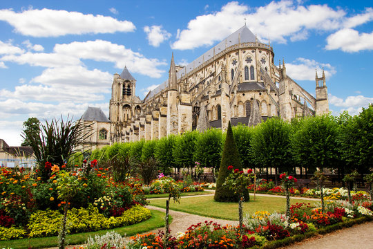 Cathedral in Bourges, beautiful garden, France