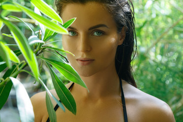 Portrait of beautiful woman in jungles