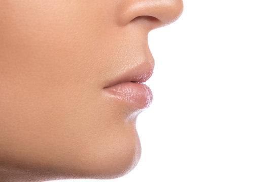 Female lips on white background