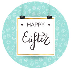 Vector background with white template poster and Easter eggs pattern for decoration, sale and greeting card. Concept of Happy Easter.