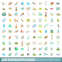 100 navigation icons set, cartoon style