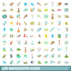 100 navigation icons set, cartoon style