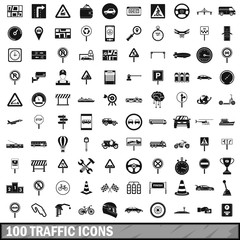 100 traffic icons set, simple style