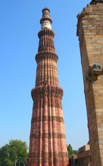 The Qutb Minar tower monument in New Delhi, India