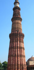 The Qutb Minar tower monument in New Delhi, India