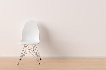 Plastic chair in empty interior