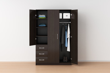 Wardrobe with open doors