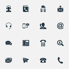 Vector Illustration Set Of Simple Connect Icons. Elements Dialogue, E-Mail Symbol, Postage And Other Synonyms House, Job And Earphone.