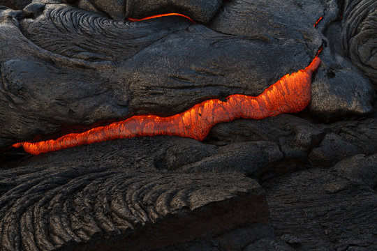 Lava Crack with Glowing Magma