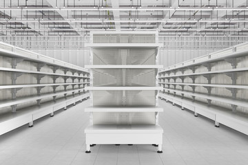 Store interior with empty supermarket shelves.