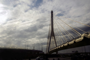 View of bridge over the road in Baku Capital of Azerbaijan