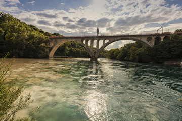 Confluence of the Rhone and Arve Rivers in Geneva