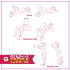 Fat Burning Training exercises illustrations