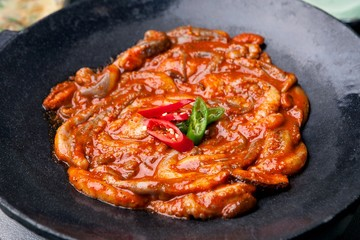 Pan-fried Marinated Small Octopus with chicken