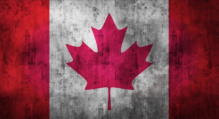 Grunge crumpled Canadian flag. 3d rendering