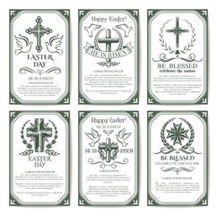 Easter cross religious poster and banner set