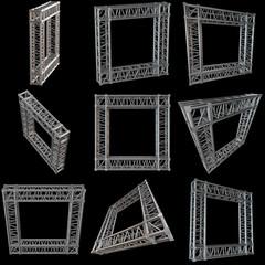 Steel truss girder rooftop frame construction set. 3d render isolated on black