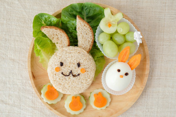 Bunny rabbit lunch plate, fun food art for kids