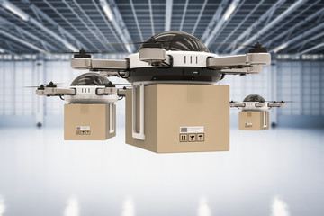 Wall Mural - delivery drone in warehouse
