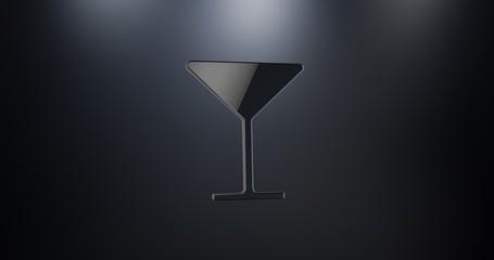 Wineglass Black 3d Icon