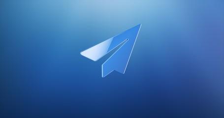 Paper Plane Blue 3d Icon