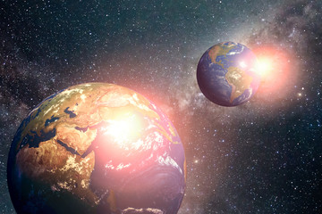 View of planet earth and twins . Elements of this image are furnished by NASA