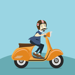 hipster young man  rides a motorbike