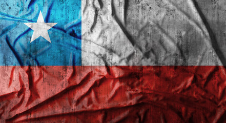 Grunge crumpled Chile flag. 3d rendering