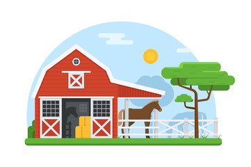 Rural landscape of horse breeding farm stable with horses in paddock. Traditional red barns on natural background. Horse stabling building banner with wooden horse stable and horses outdoors.