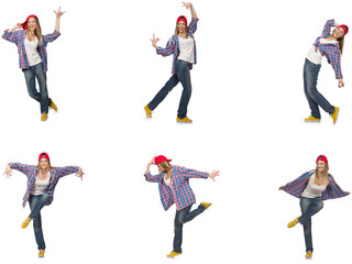 Collage of woman dancing isolated on white