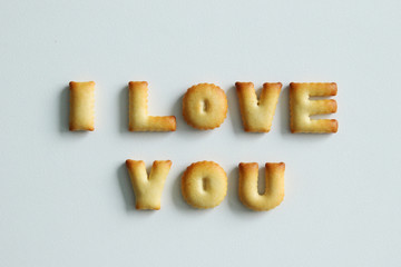 An inscription from the cookies on the white background. Text – I love you.