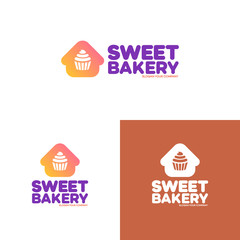 Sweet bakery logo set consisting of home and cupcake color style. Vector Illustration