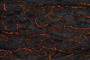 Photo sur Aluminium Texture de bois de chauffage Grunge. Cracks on black background