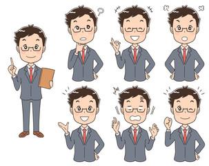スーツを着た男性のイラスト(セット 全身)