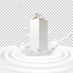 Vector illustration of a packing of tetra pack with milk standing in the center of a dairy splash. Template advertising poster in a realistic style for natural high-quality milk