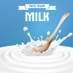 Vector illustration of a wooden spoon in the center of a dairy splash. A great advertising poster in a realistic style for natural high-quality milk