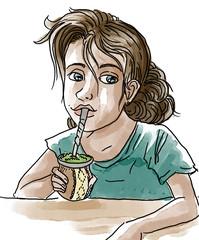 girl drinking yerba mate