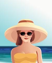 Девушка в шляпе и очках пляж, лето отдых, вектор
