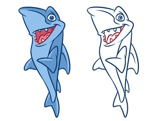 fish  shark cartoon Illustrations isolated image animal character