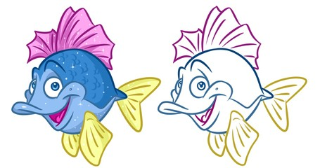 fish  cheerful cartoon Illustrations isolated image animal character