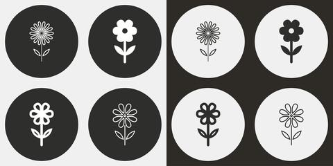 Flower icon set.