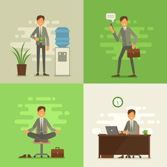 Cool vector flat design business characters. Corporate specialists friendly smiling. Man going to work, drinking coffe, meditating and relaxing, hard working. Trendy greenery background of 2017.
