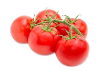 Branch of the ripe red tomatoes closeup