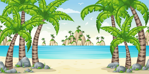 Illustration of a tropical coastal landscape