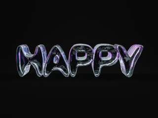 Word HAPPY made from ice letters. 3d rendering