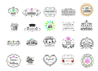 Badge as part of the design - Cosmetics logo Sticker, stamp, logo - for design, hands made. With the use of floral elements, calligraphy and lettering