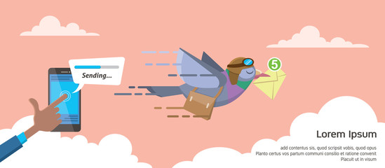 businessman sending email using smartphone on progress status pigeon courier flat vector illustration