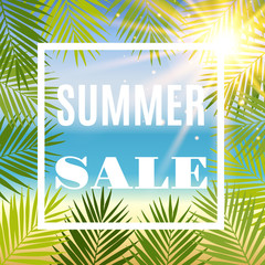 Summer sale background with palm and sun. Vector illustration