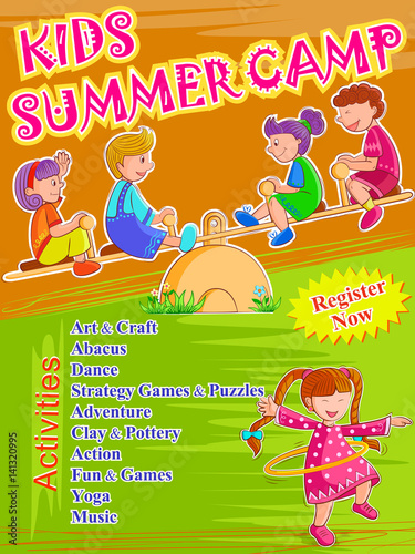 banner poster design template for kids summer camp activities stock